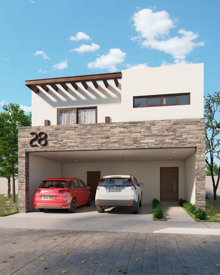 Fachada Madrid VillaSi Construcciones Casas minimalistas