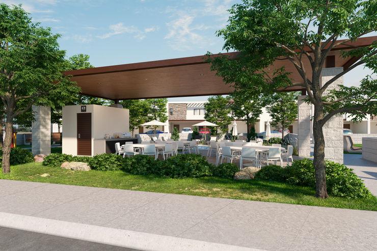 Terraza común VillaSi Construcciones Balcones y terrazas minimalistas