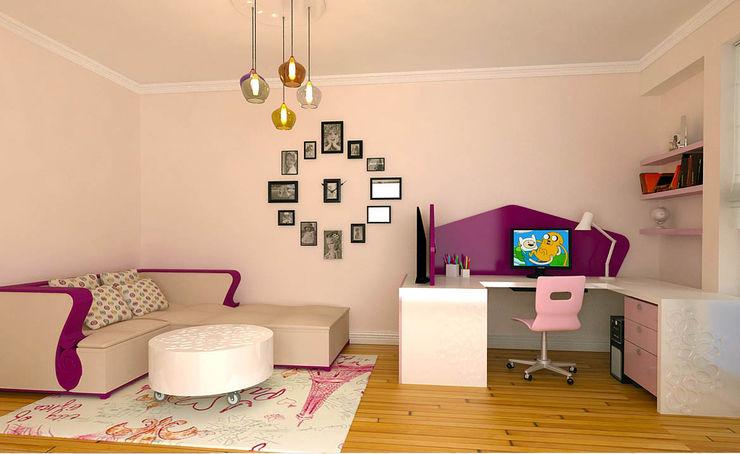 Kız Çocuk Odası Kalya İç Mimarlık \ Kalya Interıor Desıgn Kız çocuk yatak odası Ahşap Mor