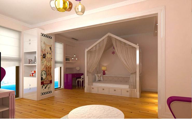 Kız Çocuk Odası - Yatak Bölümü Kalya İç Mimarlık \ Kalya Interıor Desıgn Kız çocuk yatak odası Ahşap Pembe