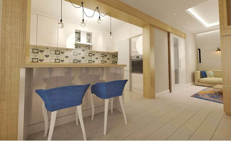 Oturma Odası - Mutfak Kalya İç Mimarlık \ Kalya Interıor Desıgn Ankastre mutfaklar Ahşap Ahşap rengi