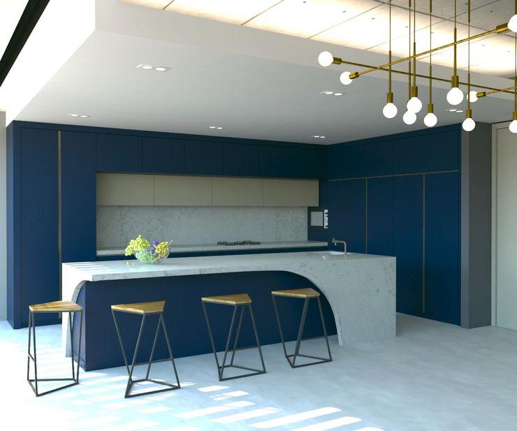 Mutfak Kalya İç Mimarlık \ Kalya Interıor Desıgn Ankastre mutfaklar Ahşap Mavi
