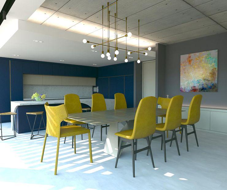 Yemek Masası Kalya İç Mimarlık \ Kalya Interıor Desıgn Modern Yemek Odası Metal Metalik/Gümüş