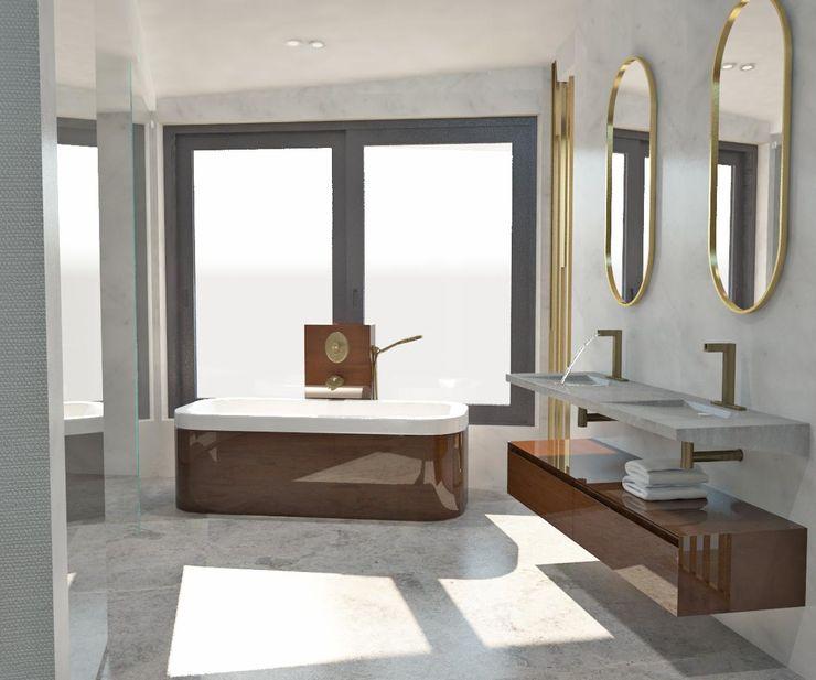 Banyo - Küvet Kalya İç Mimarlık \ Kalya Interıor Desıgn Modern Banyo Mermer Gri