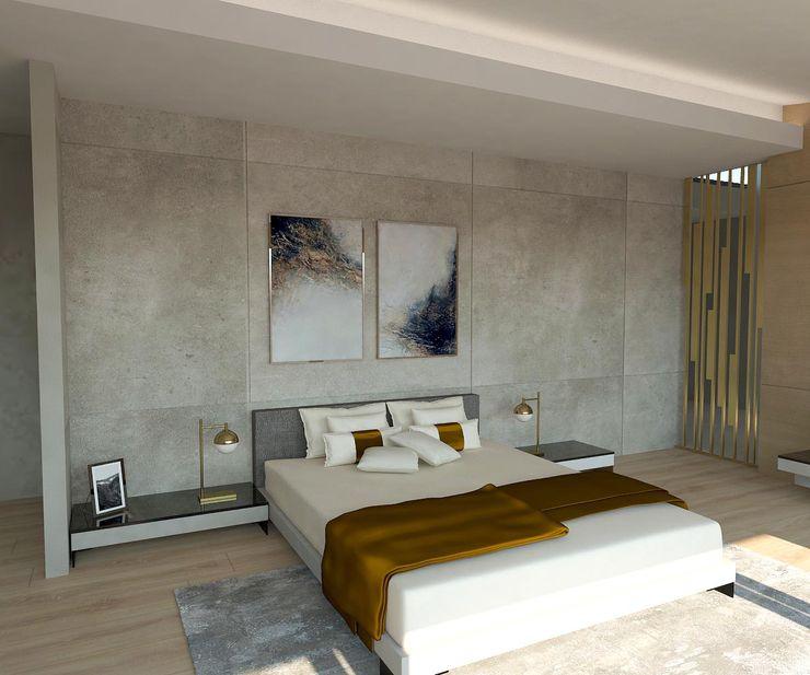 Yatak Odası - Yatak Başı Kalya İç Mimarlık \ Kalya Interıor Desıgn Küçük Yatak Odası Seramik Gri