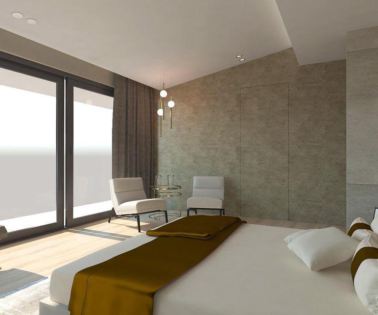 Yatak Odası - Oturma Kalya İç Mimarlık \ Kalya Interıor Desıgn Küçük Yatak Odası Seramik Gri