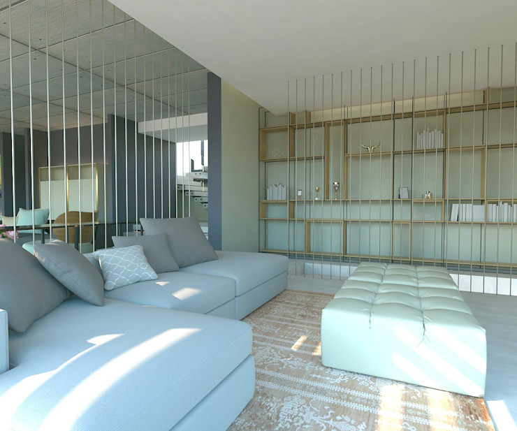 Kitaplık Kalya İç Mimarlık \ Kalya Interıor Desıgn Modern Oturma Odası Ahşap Ahşap rengi