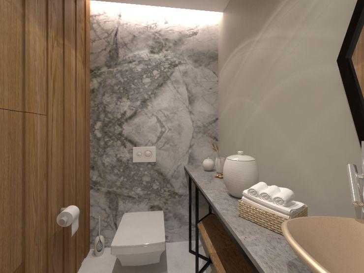 Misafr WC Kalya İç Mimarlık \ Kalya Interıor Desıgn Modern Banyo Ahşap Ahşap rengi