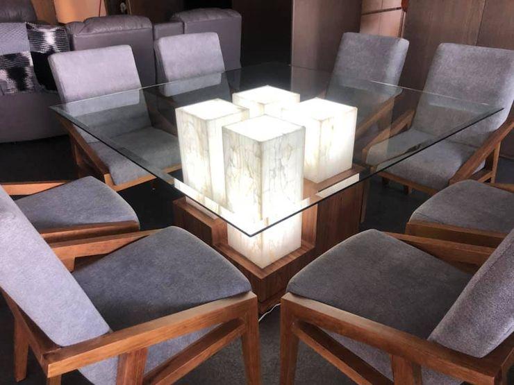 Mesas, sillas y sillones para comedores, materiales: ónix, marmol, madera, tzalam, parota, vidrio. ALVETA DESIGN ComedorMesas Mármol Acabado en madera
