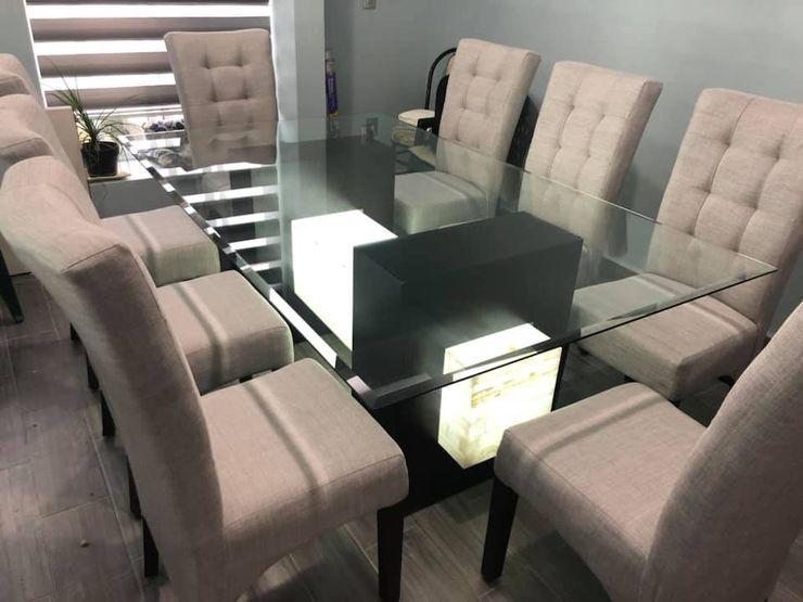 Ideas de comedores modernos, fabricantes en Ciudad de México, sillas para comedor, ónix, marmol, madera. ALVETA DESIGN ComedorMesas Piedra Acabado en madera