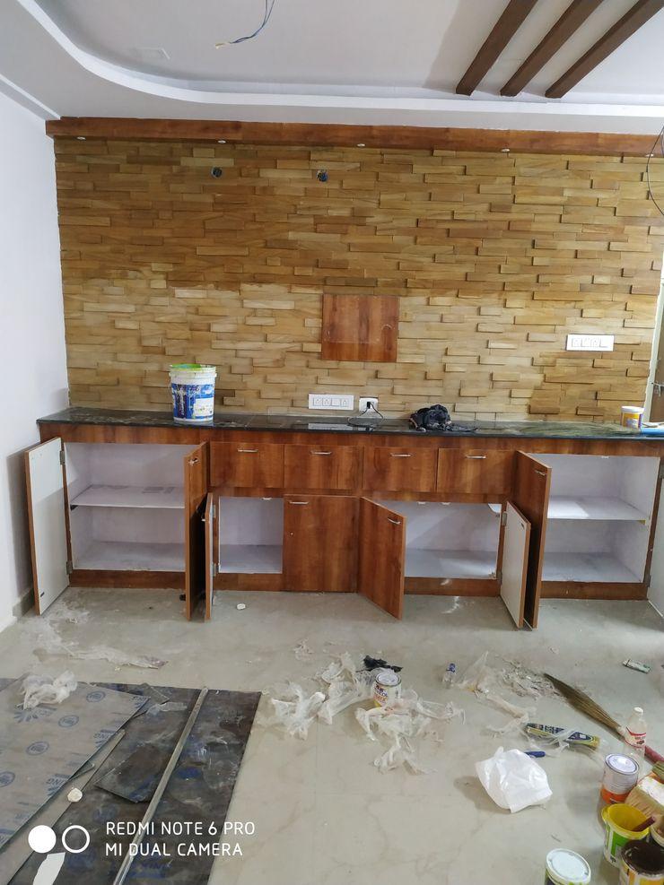 Madurawada work Mm interors Industrial style living room