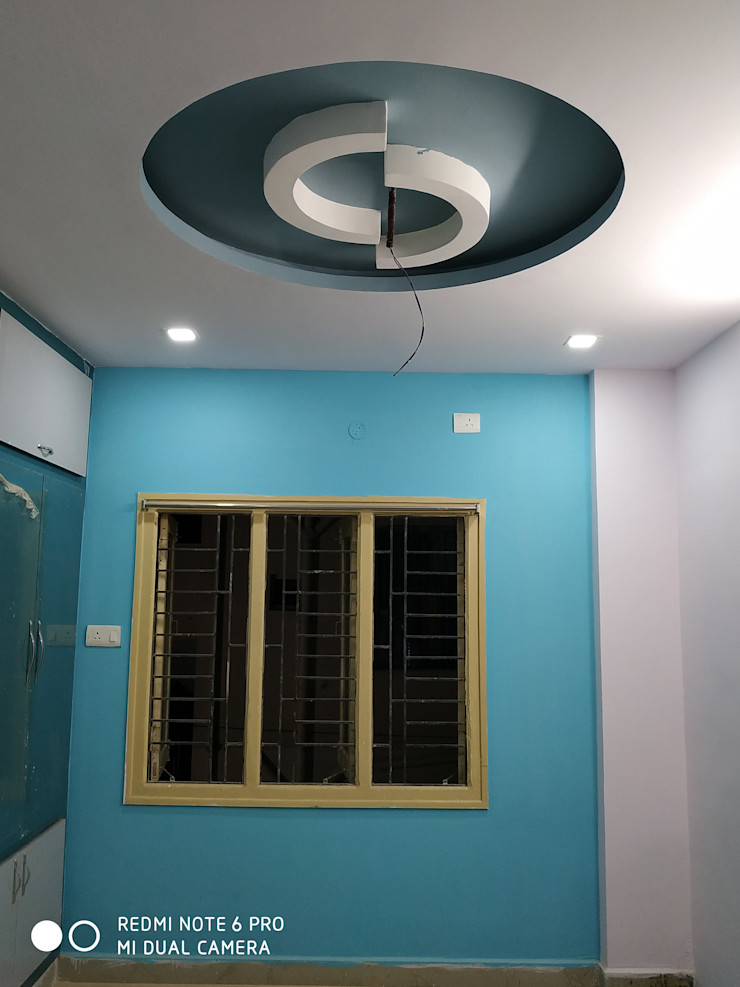 Madurawada work Mm interors Industrial style dining room Pink