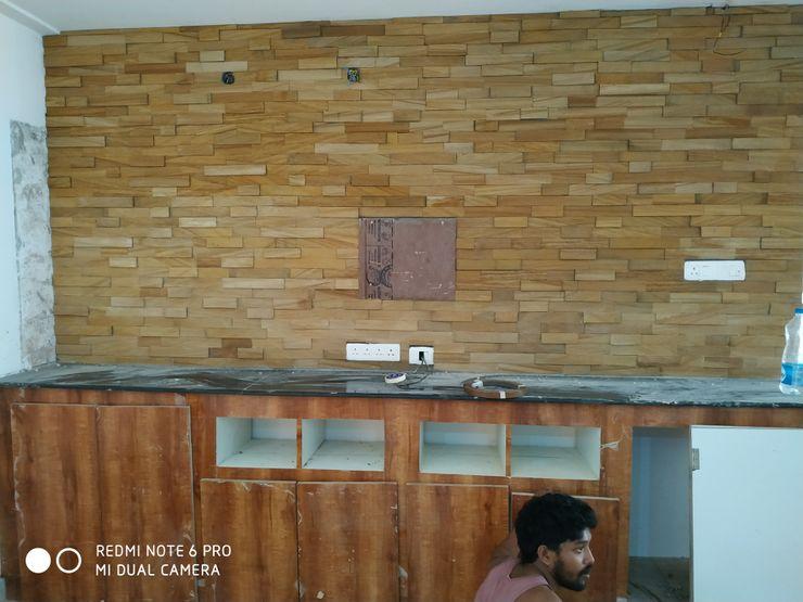 Madurawada work Mm interors Modern corridor, hallway & stairs
