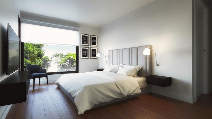 Dormitorio principal Alexander Congonha Dormitorios de estilo minimalista Blanco