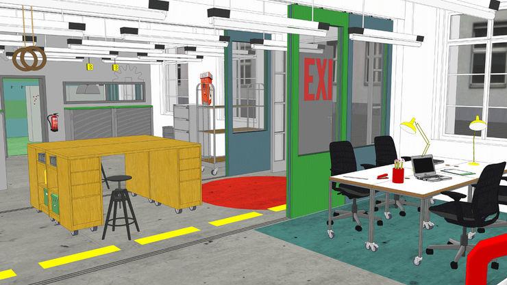 3D VISUALISIERUNG _WERKSTATT FÜR UNBESCHAFFBARES - Innenarchitektur aus Berlin Moderne Bürogebäude