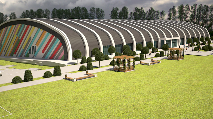 ARCONPROJE Modern stadiums Wood-Plastic Composite Grey