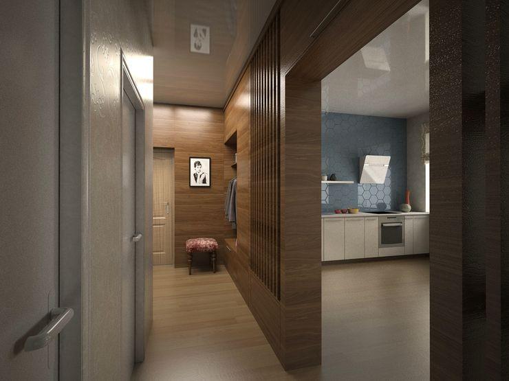 Вадим Марков Minimalist corridor, hallway & stairs