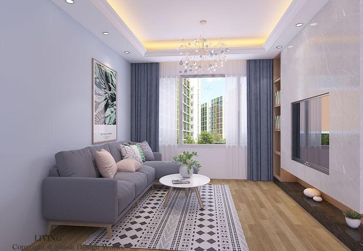 Living room Swish Design Works Modern living room Plywood Blue