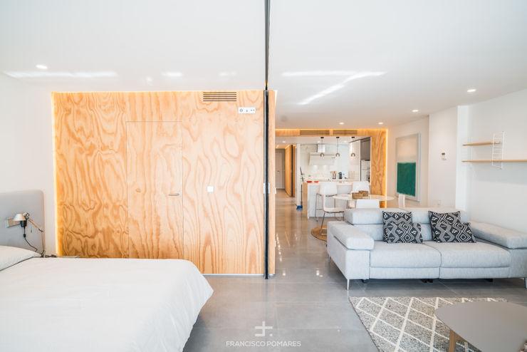Tabique móvil - cerramiento flexible Francisco Pomares Arquitecto / Architect Dormitorios de estilo moderno