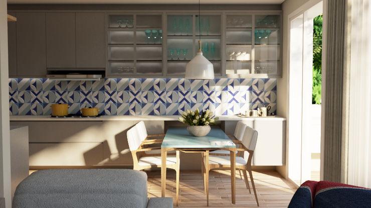 Elaine Hormann Architecture 餐廳桌子 玻璃 Blue