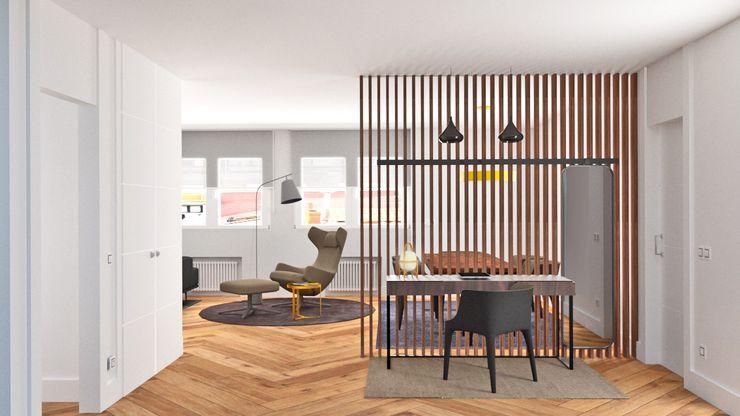 HALL DE ENTRADA arQmonia estudio, Arquitectos de interior, Asturias Pasillos, vestíbulos y escaleras de estilo minimalista