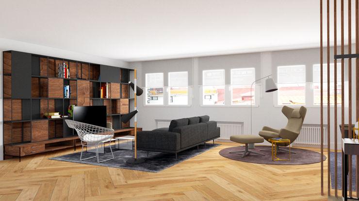 VISTA SALON DESDE EL HALL arQmonia estudio, Arquitectos de interior, Asturias Salones de estilo minimalista