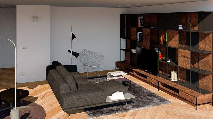 SALÓN. ZONA TV arQmonia estudio, Arquitectos de interior, Asturias Salones de estilo minimalista