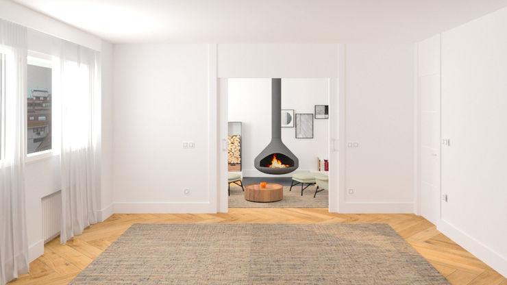 LA SALA DE LA CHIMENEA arQmonia estudio, Arquitectos de interior, Asturias Salones de estilo minimalista