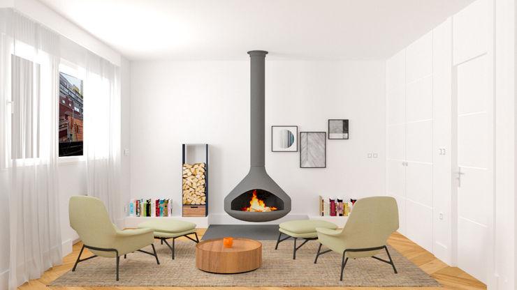 HABITACIÓN CON SALA DE LECTURA Y RELAX arQmonia estudio, Arquitectos de interior, Asturias Salones de estilo minimalista