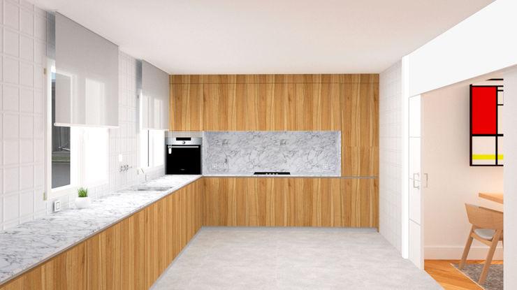 COCINA CON UNA ENORME MESETA arQmonia estudio, Arquitectos de interior, Asturias Cocinas de estilo minimalista