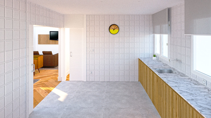 COCINA BIEN COMUNICADA arQmonia estudio, Arquitectos de interior, Asturias Cocinas de estilo minimalista