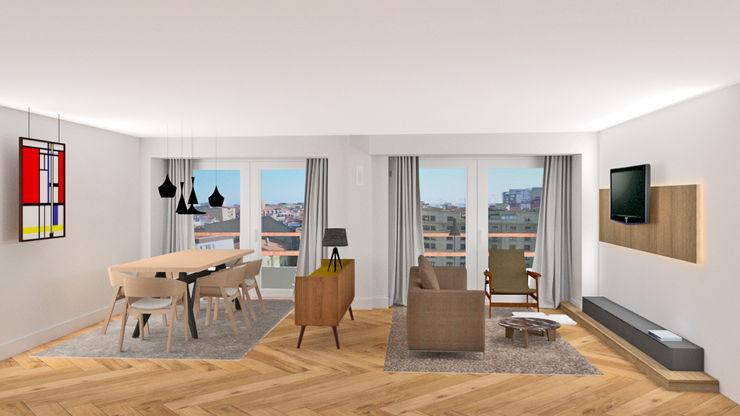 SALON COMEDOR arQmonia estudio, Arquitectos de interior, Asturias Comedores de estilo minimalista