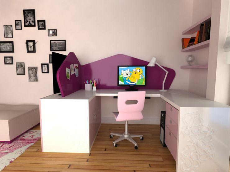 Kız Çocuk Odası - Çalışma Masası Kalya İç Mimarlık \ Kalya Interıor Desıgn Kız çocuk yatak odası Ahşap Mor
