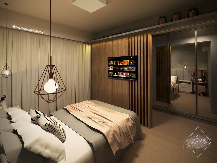 Dormitório para Casal Jovem Laura Santa Maria Arquitetura Quartos industriais