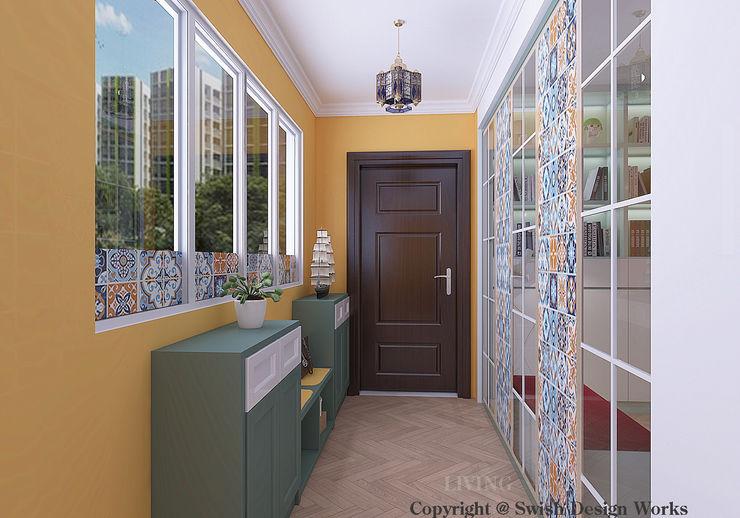 Entrance Swish Design Works Modern corridor, hallway & stairs Yellow