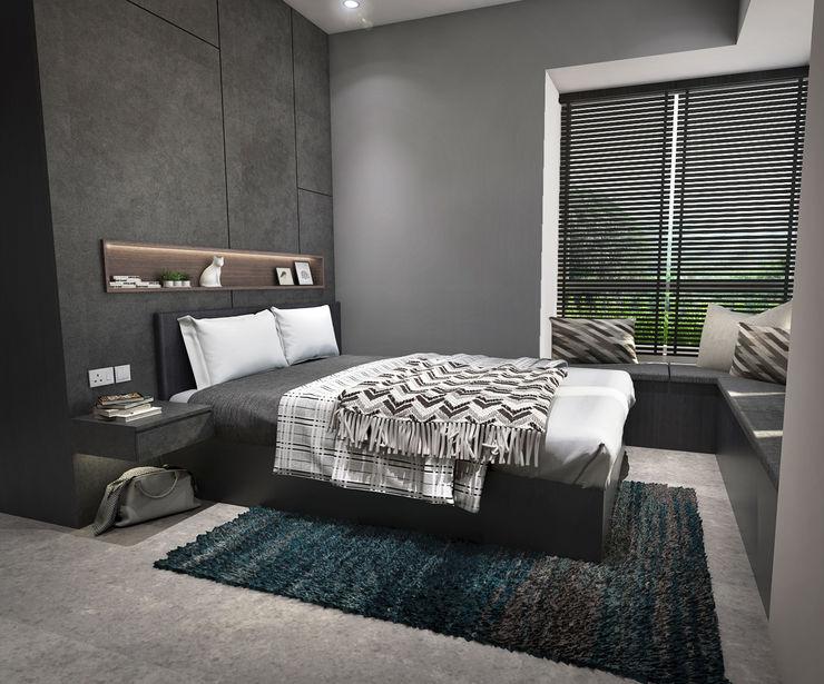 Swish Design Works Dormitorios pequeños Contrachapado Gris