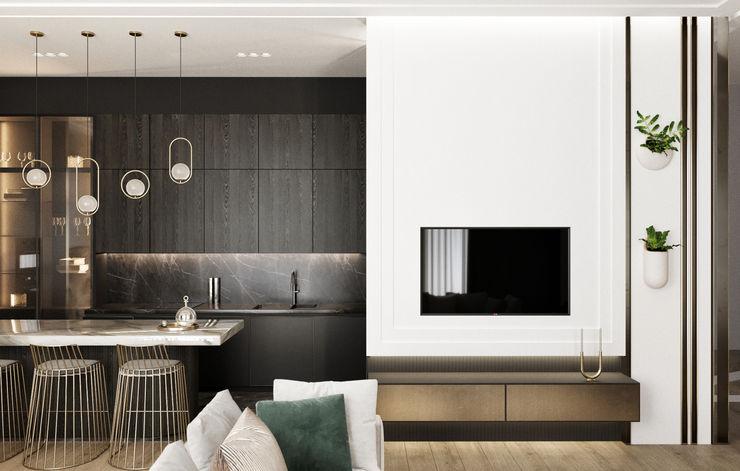 Y.F.architects Salones de estilo minimalista