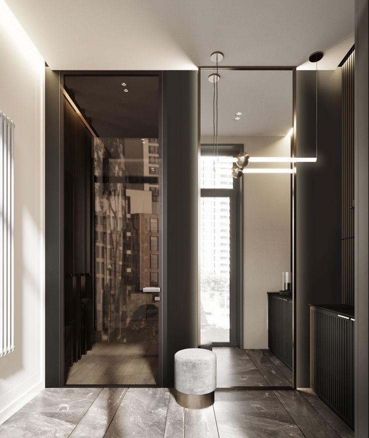Y.F.architects Pasillos, vestíbulos y escaleras de estilo minimalista