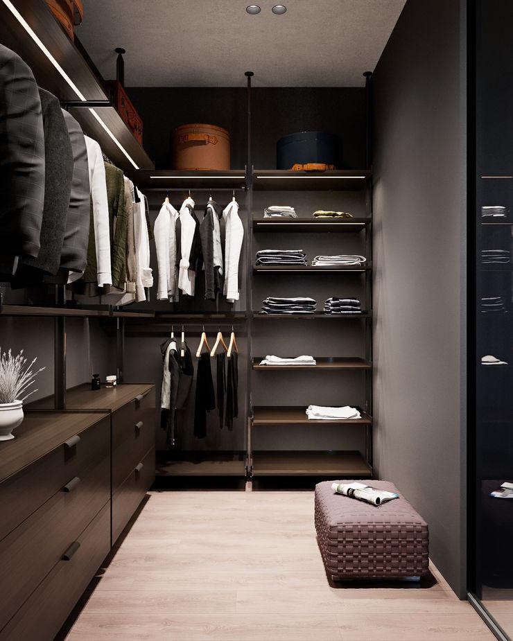Y.F.architects Vestidores de estilo minimalista