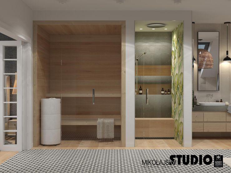 sauna w łazience MIKOŁAJSKAstudio Eklektyczna łazienka