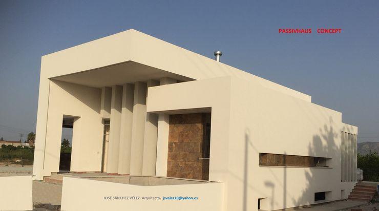 Fachada NorOeste DYOV STUDIO Arquitectura, Concepto Passivhaus Mediterraneo 653 77 38 06 Villas Caliza Blanco