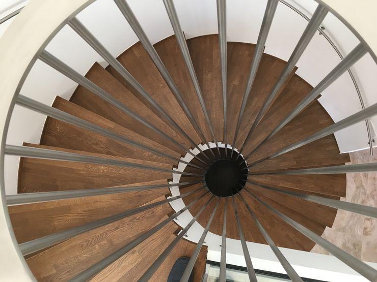 Vivienda Moderna con Escalera circular de mínimo espacio y máxima comodidad DYOV STUDIO Arquitectura, Concepto Passivhaus Mediterraneo 653 77 38 06 Vestíbulos, pasillos y escalerasEscaleras Madera Marrón