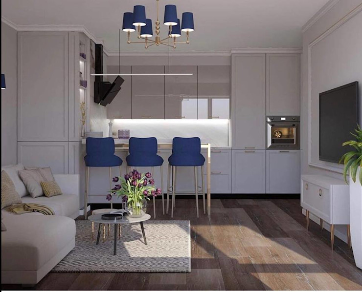 Luxury chandelier with gold finishes and blue shades Luxury Chandelier LTD Small kitchens Мідь / Бронза / Латунь Білий