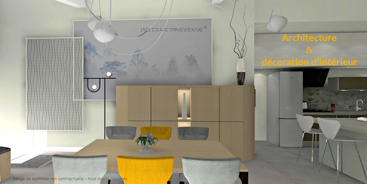 PORTRAIT D'INTERIEUR Modern dining room Wood Beige