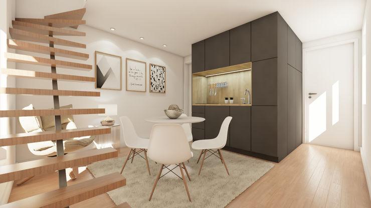 Loft com kitchenette homify Salas de estar modernas