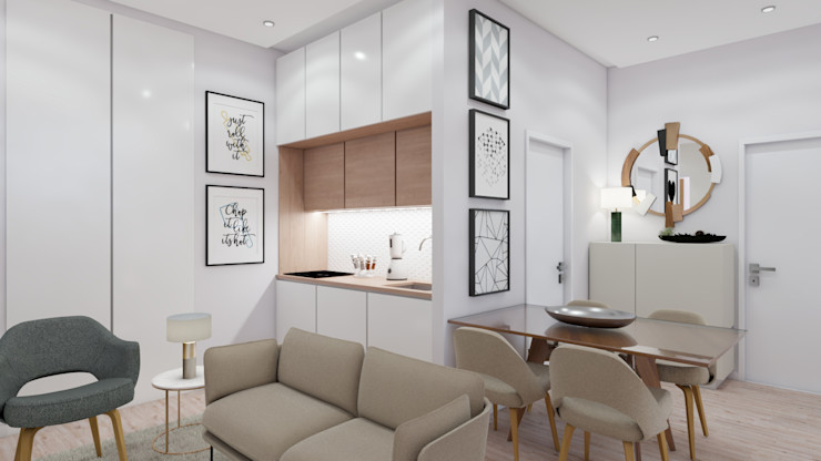 Kitchenette homify Salas de estar modernas