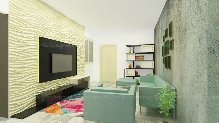 Living Room 360 Degree Interior Minimalist living room Plywood Black