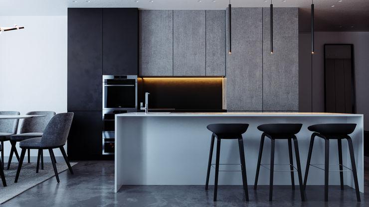 островная кухня дизайн студия А Гординского Built-in kitchens Multicolored