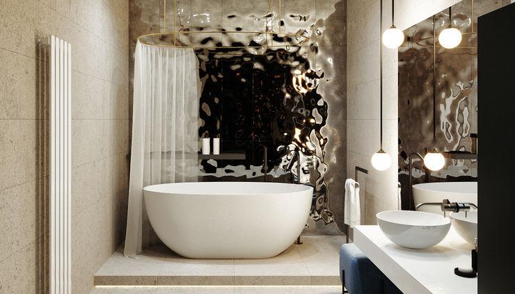 ванная комната дизайн студия А Гординского Minimalist style bathroom Wood-Plastic Composite Multicolored