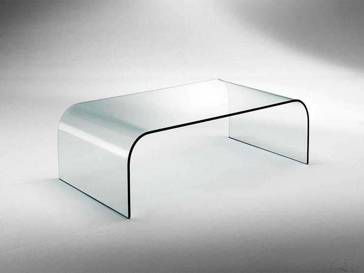 Curved glass table for living room Gallery INFABBRICA Sala de estarBancadas e bandejas Vidro Transparente